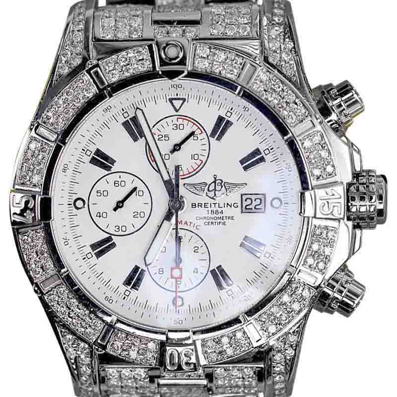 """Image of """"Breitling A13370 Stainless Steel With White Dial 48.4mm Mens Watch"""""""