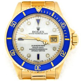 Rolex Submariner 16618 18K Yellow Gold Mother Of Pearl Diamond Serti Dial 40mm Mens Watch