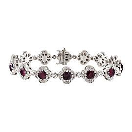 Charles Krypell Platinum 7.63 Ct Ruby & 1.42 Ct Diamond Clover Link Bracelet