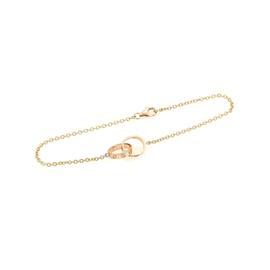 Cartier Mini Love 18K Rose Gold Rings Chain Bracelet 6.5