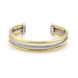 David Yurman 18K Yellow Gold & 925 Sterling Silver Triple Wire Band Cable Cuff Bracelet