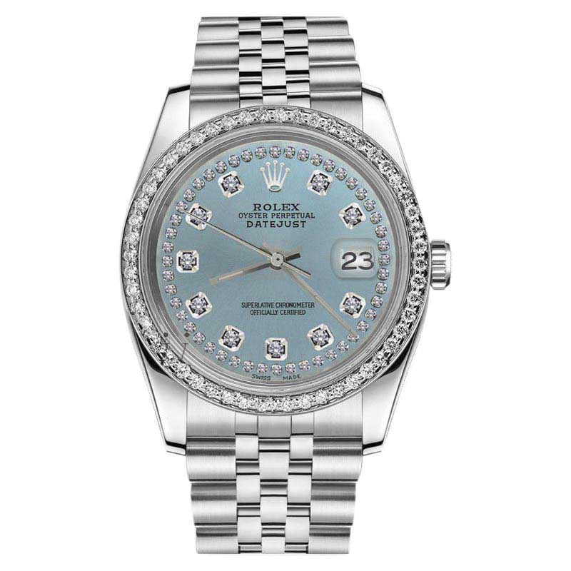 "Image of ""Rolex Datejust Stainless Steel Ice Blue String Diamond Dial 26mm"""