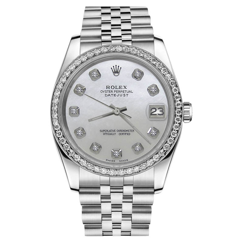"""Image of """"Rolex Datejust Stainless Steel White MOP Mother of Pearl Dial with"""""""