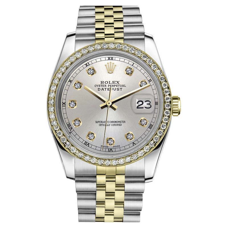 "Image of ""Rolex Datejust Stainless Steel/ 18K Gold Silver Color Dial with"""