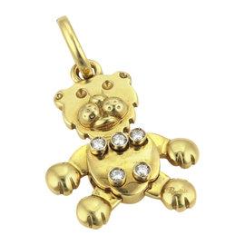 Pomellato 18K Yellow Gold 0.12 Ct Diamond Animated Bear Charm Pendant