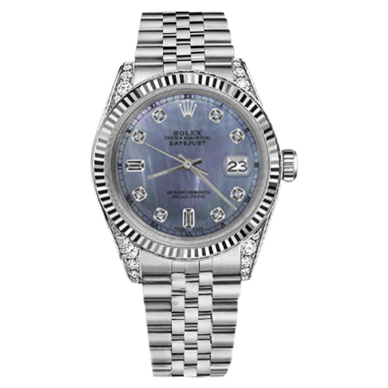 "Image of ""Rolex Datejust Stainless Steel & 18K White Gold Tahitian Mother of"""