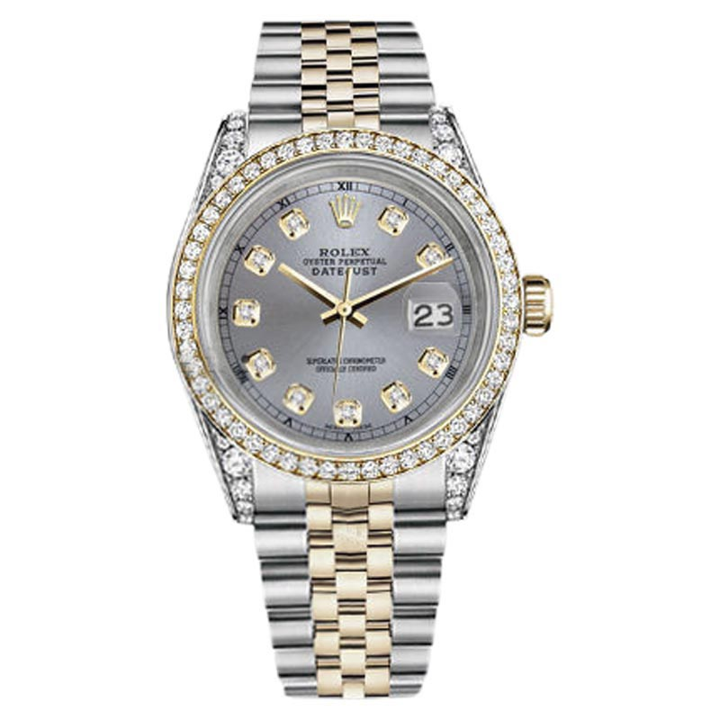 """Image of """"Rolex Datejust Stainless Steel/ 18K Gold Watch Grey Diamond Dial 26mm"""""""