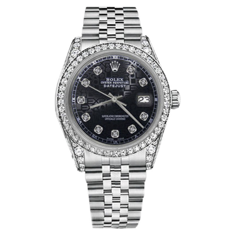 "Image of ""Rolex Datejust Stainless Steel Jubilee Black Color Diamond Dial 26mm"""