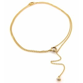 Cartier Love Trinity 18K Yellow, White And Rose Gold Mini Ring Knot Pendant Double Lariat Necklace
