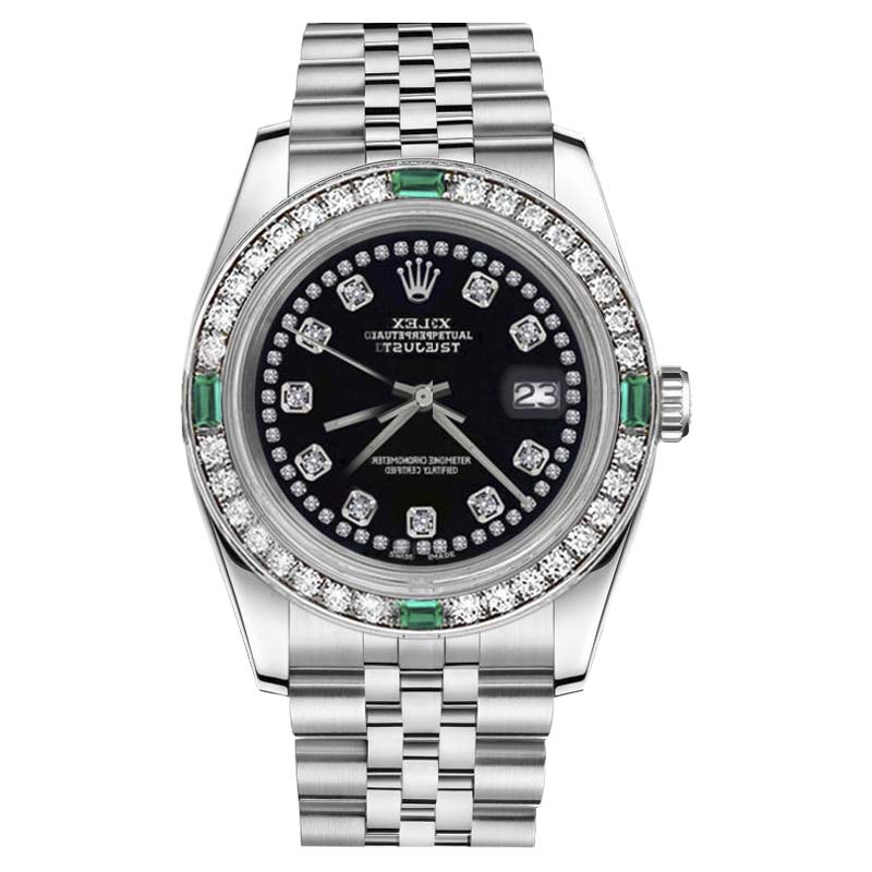 "Image of ""Rolex Datejust Stainless Steel Glossy Black String Diamond Emerald"""