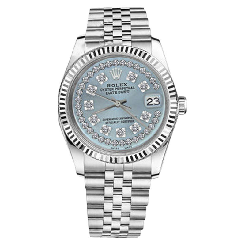 """Image of """"Rolex Datejust Stainless Steel Jubilee Ice Blue String Diamond Face"""""""