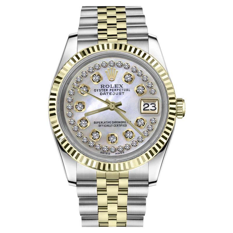 "Image of ""Rolex Datejust Stainless Steel & 18K Yellow Gold White Mother Of Pearl"""