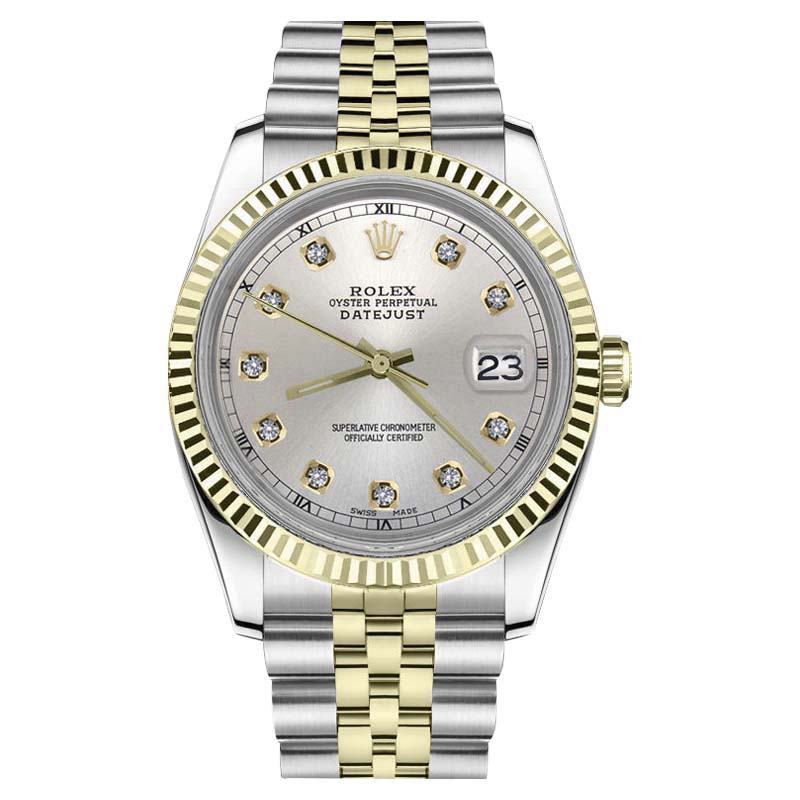 """Image of """"Rolex Datejust Stainless Steel/ 18K Gold Silver Diamond Numerals 31mm"""""""