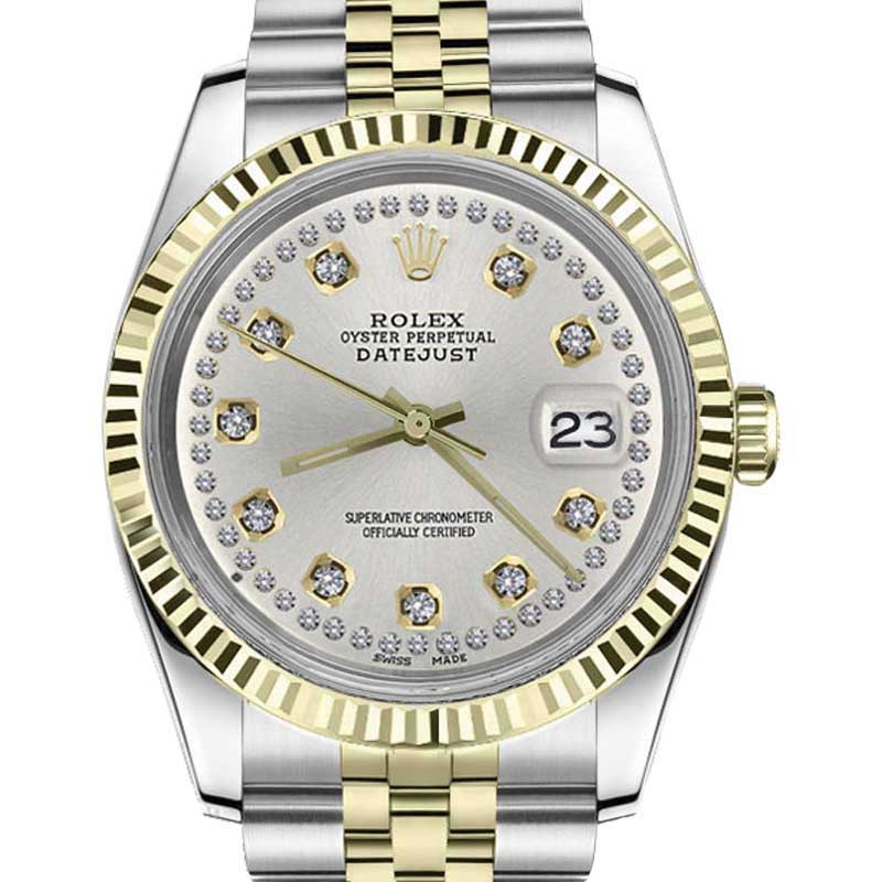 "Image of ""Rolex Datejust Stainless Steel/ 18K Gold Silver String Diamond Jubilee"""