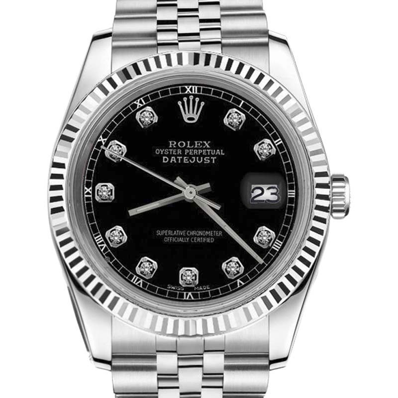 "Image of ""Rolex Datejust Stainless Steel Black Diamond Dial White Track 31mm"""