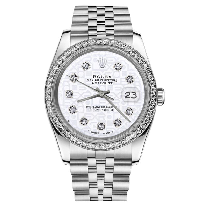 """Image of """"Rolex Datejust Stainless Steel White Logo Dial w Diamond Numbers"""""""
