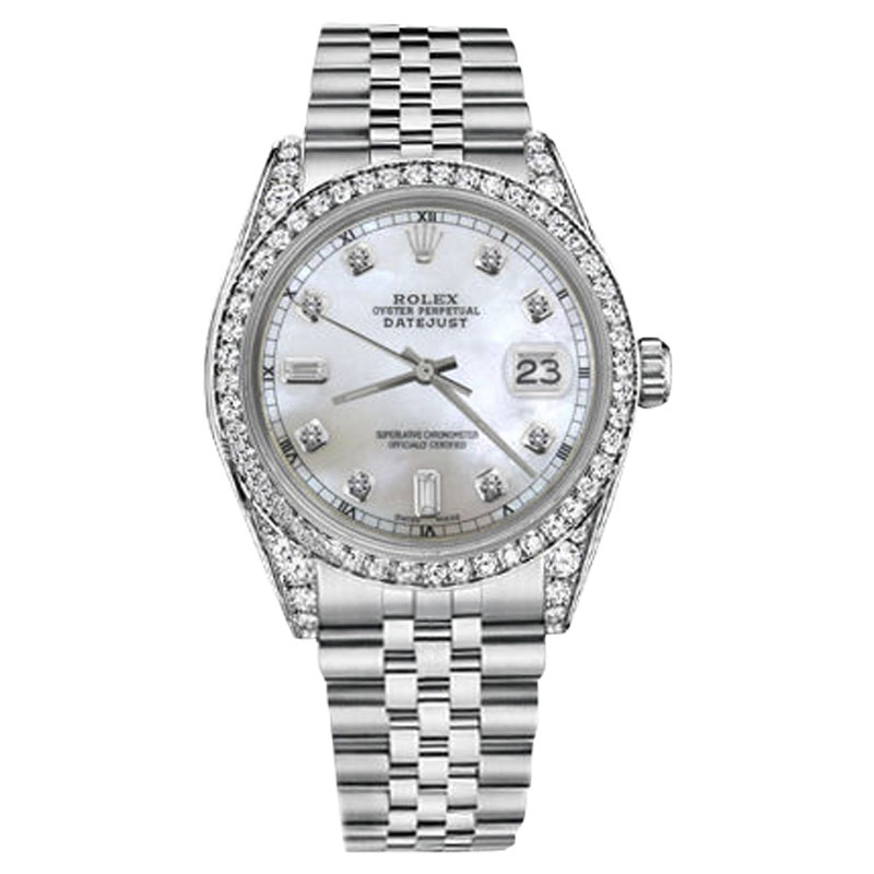 """Image of """"Rolex Datejust Stainless Steel White Mother of Pearl Dial with 8+2"""""""