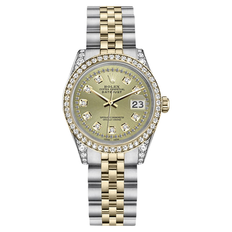 """Image of """"Rolex Datejust Stainless Steel/ 18K Gold Champagne String Diamond Dial"""""""