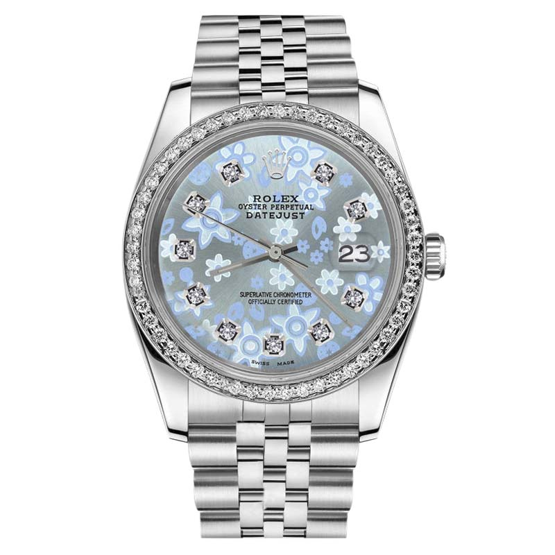 """Image of """"Rolex Datejust Stainless Steel Baby Blue Floral Design Diamond Dial"""""""