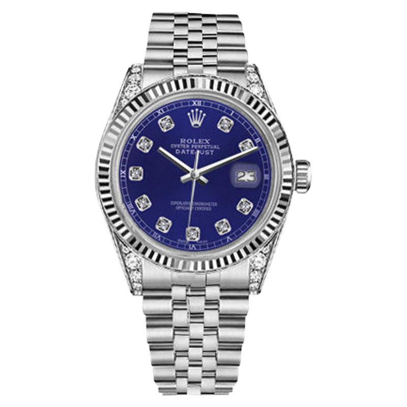 "Image of ""Rolex Datejust Stainless Steel Blue Diamond Accent Dial 36mm Unisex"""