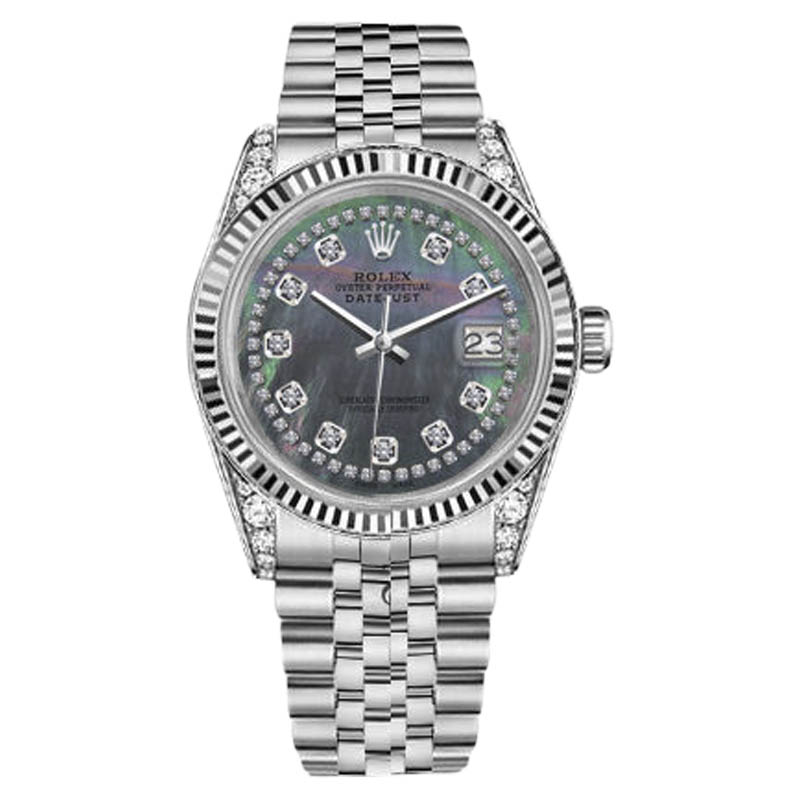 "Image of ""Rolex Datejust Stainless Steel Black Mother of Pearl String Diamond"""