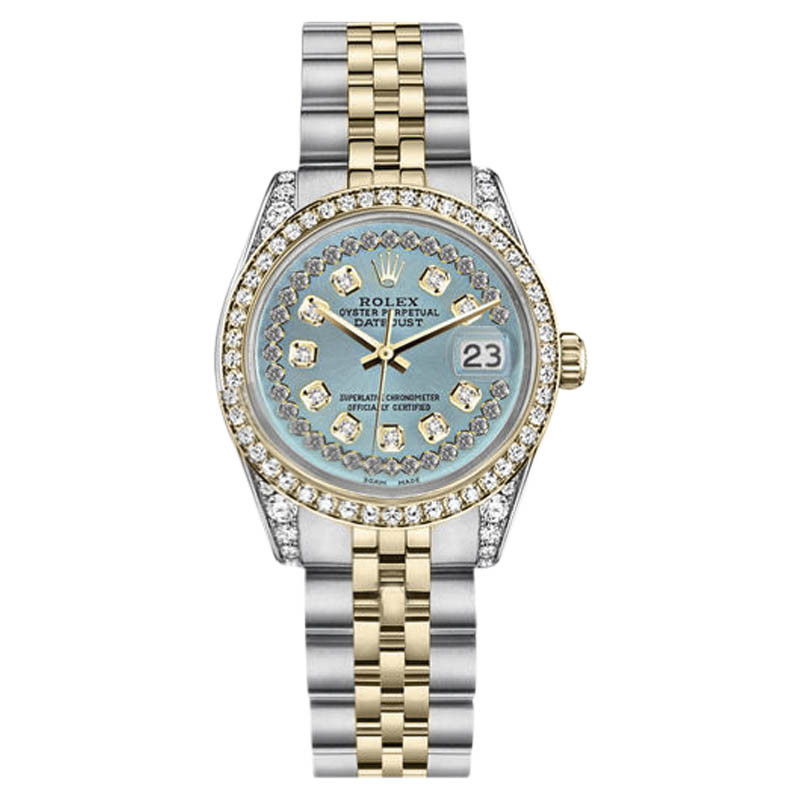 """Image of """"Rolex Datejust Steel and Gold Ice Blue String Diamond Dial 36mm Unisex"""""""
