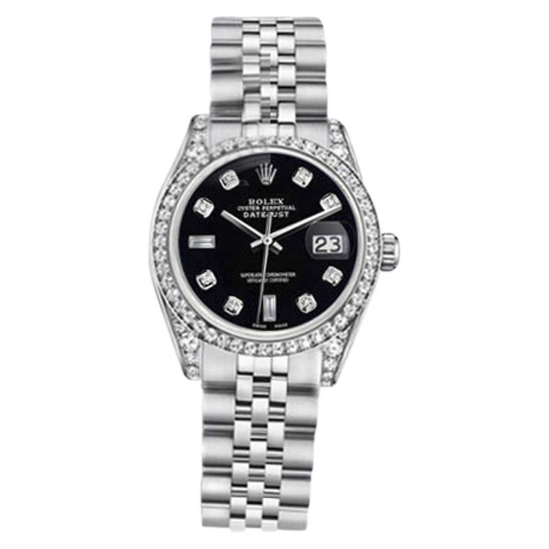 "Image of ""Rolex Datejust Stainless Steel Jubilee Bracelet Black Diamonds 36mm"""