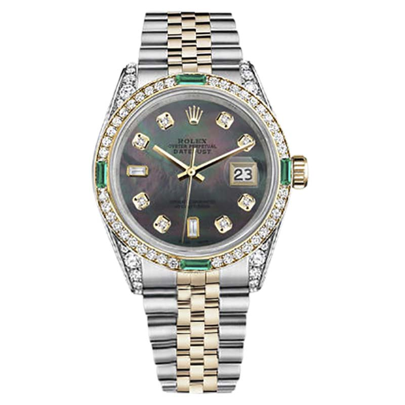 """Image of """"Rolex Datejust Stainless Steel/ 18K Gold Black Mother Of Pearl 8+2"""""""