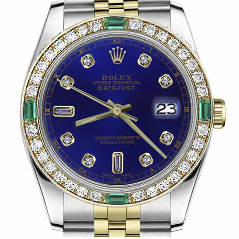 """Image of """"Rolex Datejust Stainless Steel/ 18K Gold Blue Color 8+2 Emerald"""""""