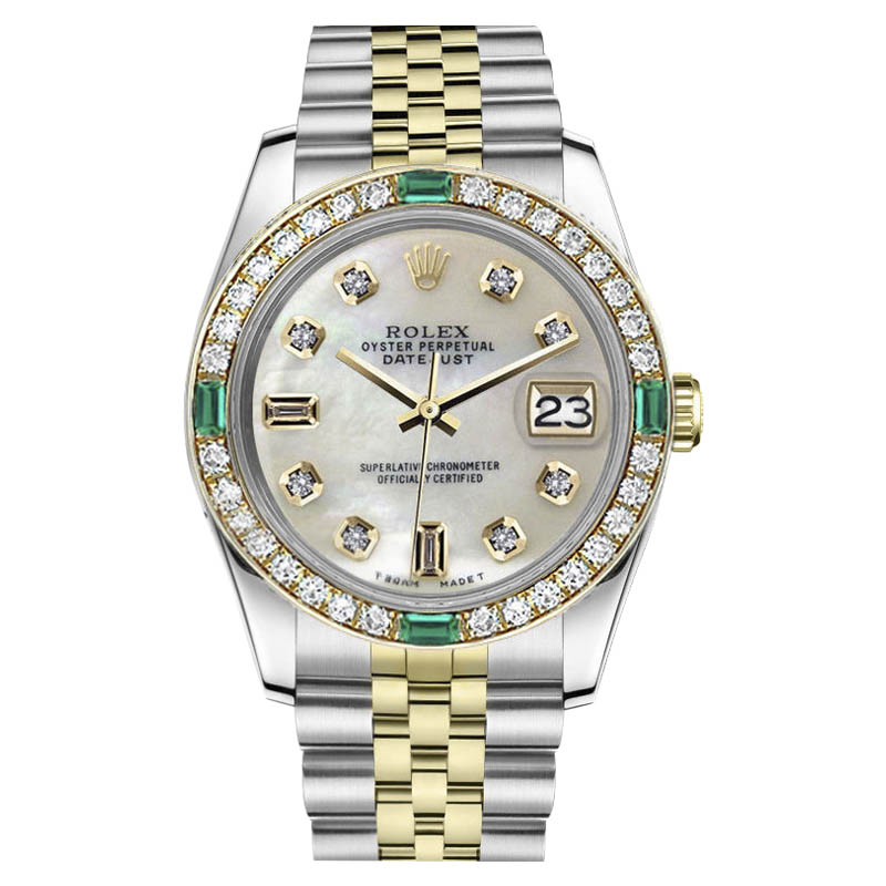 """Image of """"Rolex Datejust Stainless Steel/ 18K Gold Mother Of Pearl 8+2 Diamond"""""""
