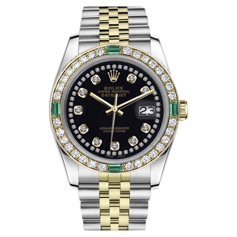 "Image of ""Rolex Datejust Stainless Steel/ 18K Gold Black String Emerald Diamond"""
