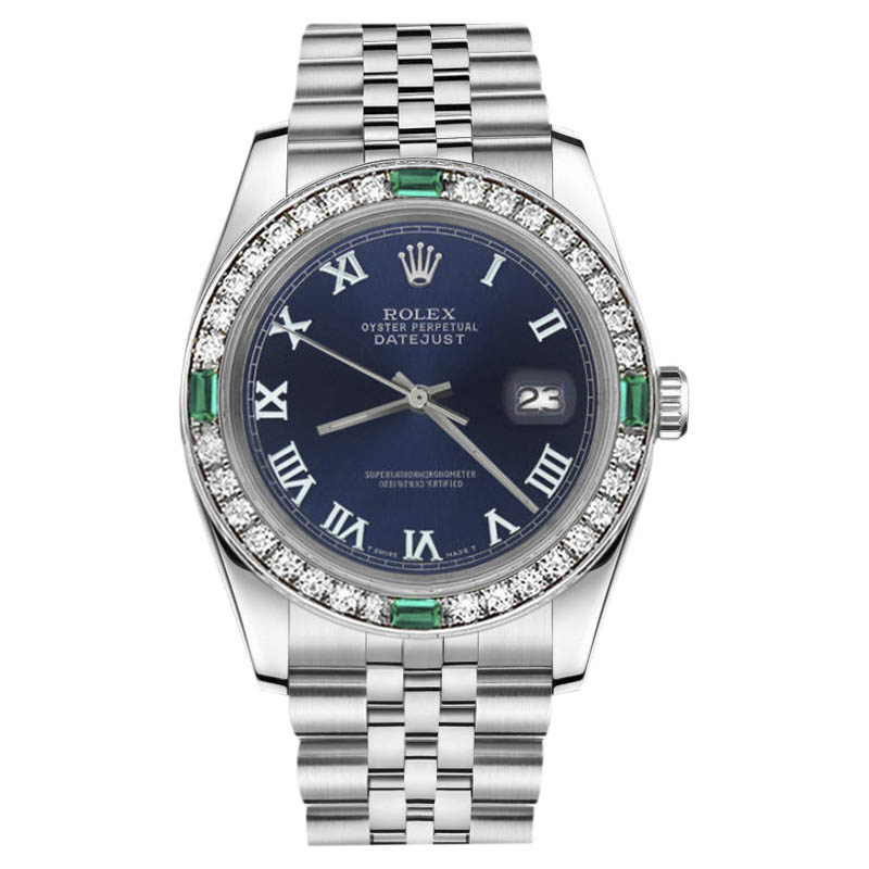 """Image of """"Rolex Datejust Stainless Steel Navy Blue Color Roman Numeral Emerald"""""""