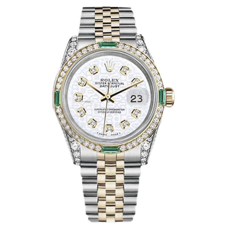 """Image of """"Rolex Datejust Stainless Steel/ 18K Gold White Jubilee Diamond Emerald"""""""