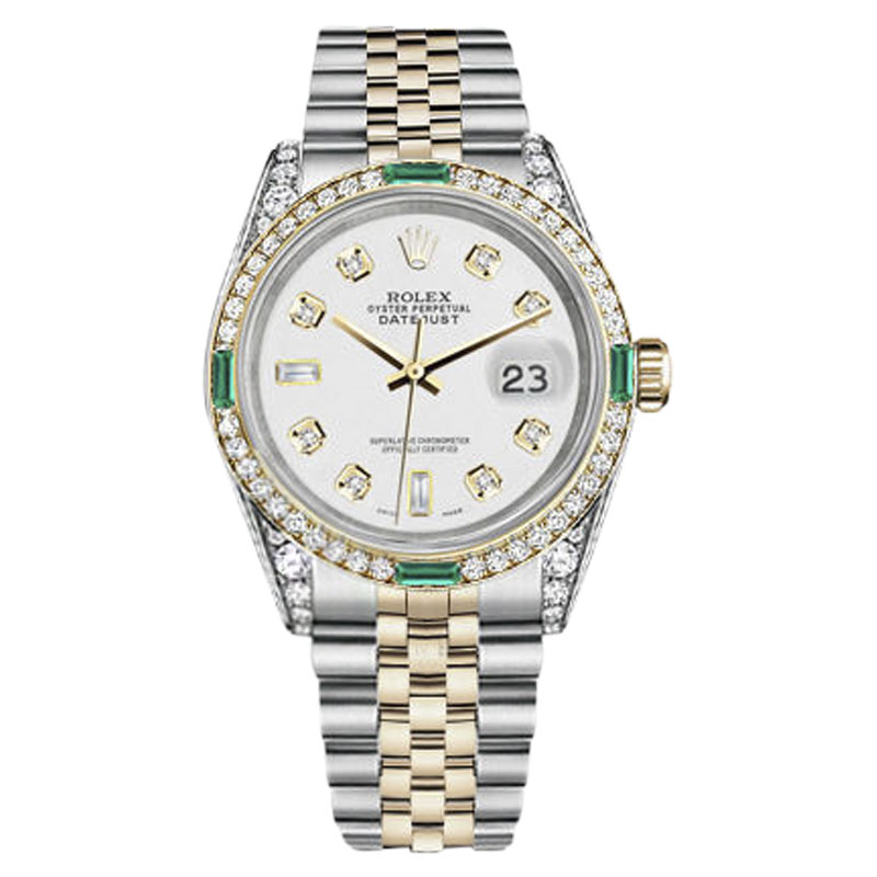 """Image of """"Rolex Datejust Stainless Steel/ 18K Gold White Diamond Emerald Dial"""""""