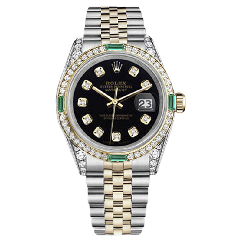 """Image of """"Rolex Datejust Stainless Steel-Gold Black Color Diamond Emerald Dial"""""""
