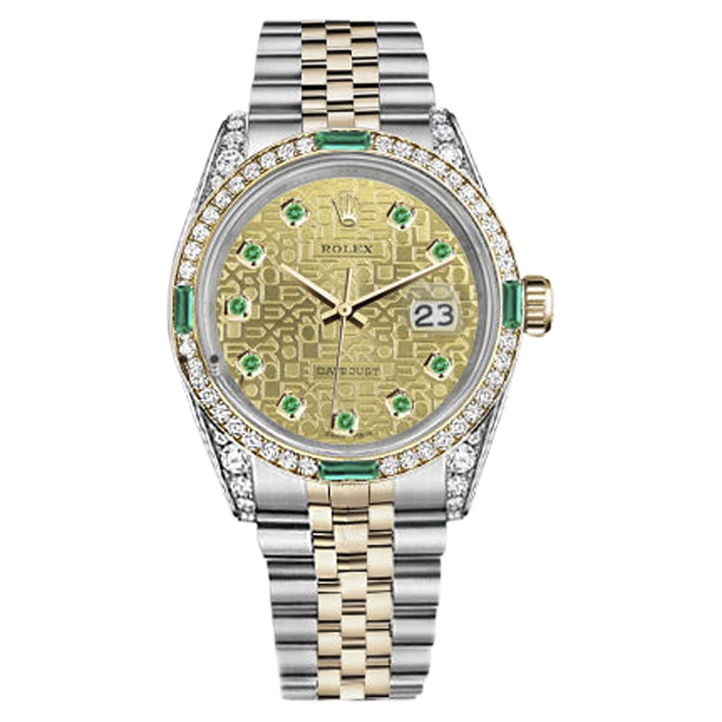 "Image of ""Rolex Datejust Two Tone 18K Gold/ Stainless Steel Emerald & Diamond"""