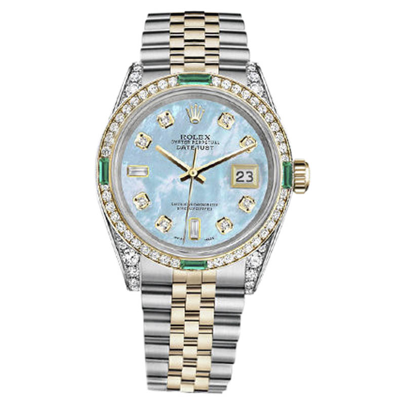 """Image of """"Rolex Datejust Steel-Gold Baby Blue Mother Of Pearl 8+2 Diamond"""""""