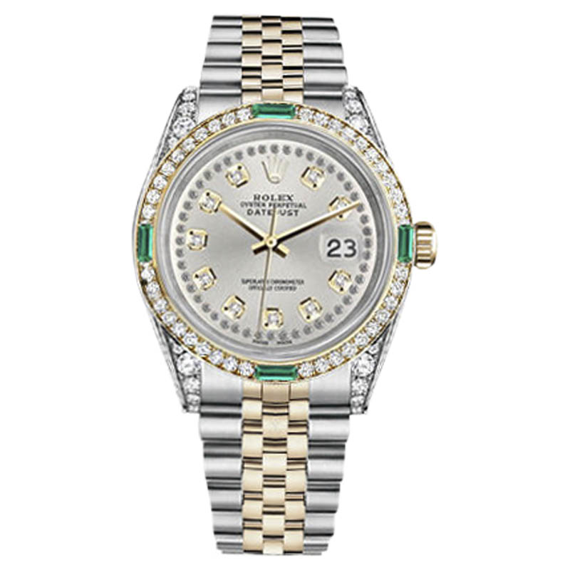"""Image of """"Rolex Datejust Steel-Gold Silver String Emerald Diamond Dial 26mm"""""""