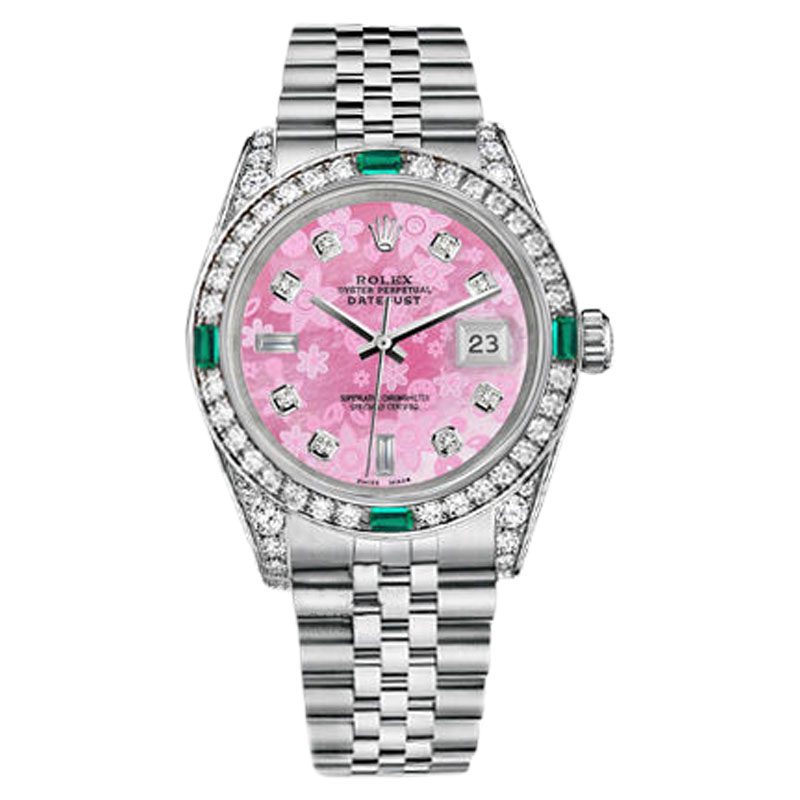 """Image of """"Rolex Datejust Steel Pink Flower Mother Of Pearl Emerald Diamond Dial"""""""