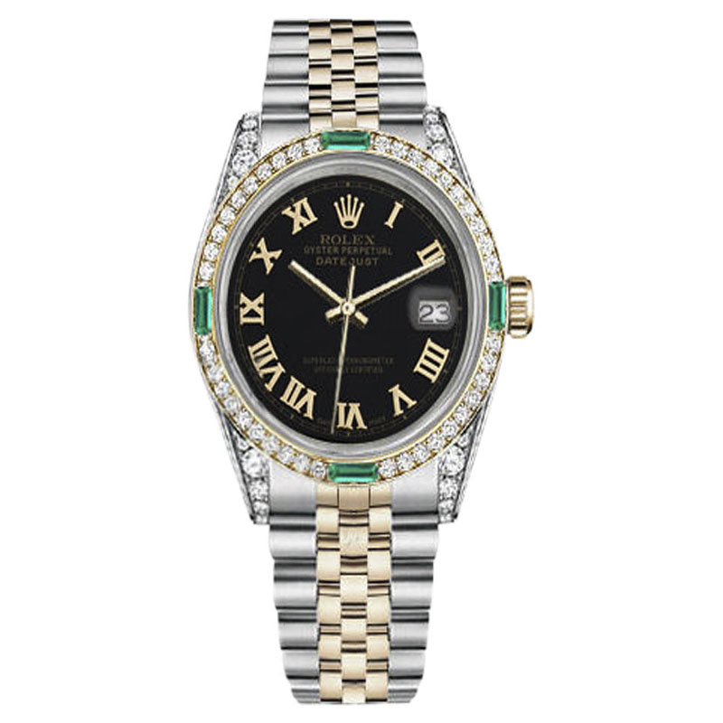 "Image of ""Rolex Datejust Stainless Steel/ 18K Gold Green Emerald And Diamond"""