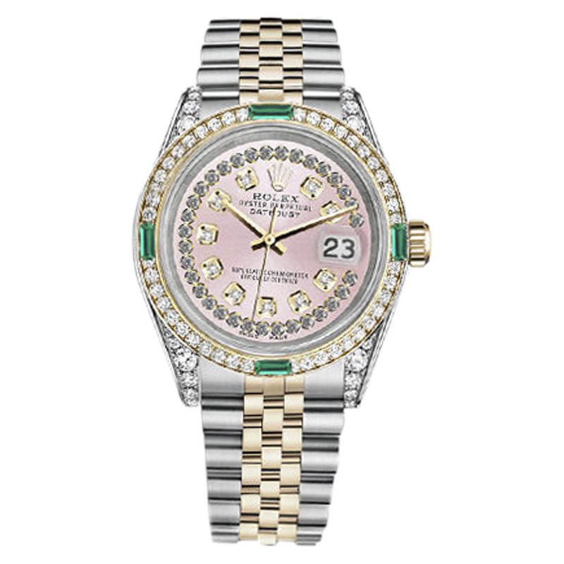 """Image of """"Rolex Datejust Stainless Steel/ 18K Gold Pink String Emerald Diamond"""""""