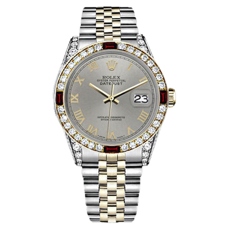"""Image of """"Rolex Datejust Stainless Steel/ 18K Gold Slate Grey Gold Roman Numeral"""""""