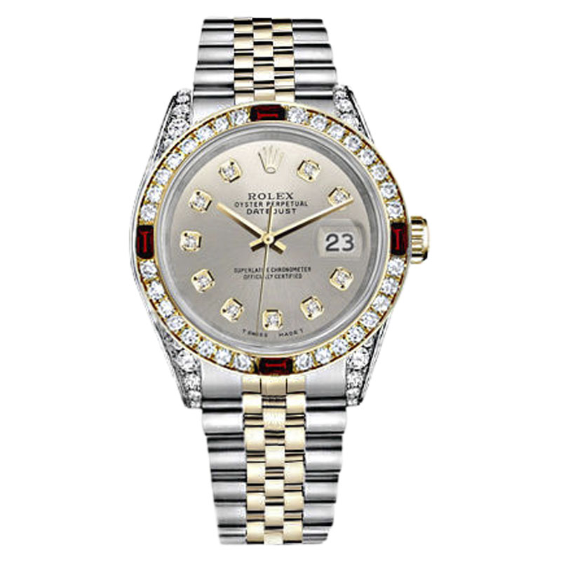 "Image of ""Rolex Datejust Stainless Steel/ 18K Gold Dial Ruby Diamond Womens 36mm"""