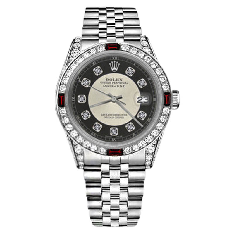 """Image of """"Rolex Datejust Stainless Steel Silver Tuxedo Dial With Ruby & Diamond"""""""