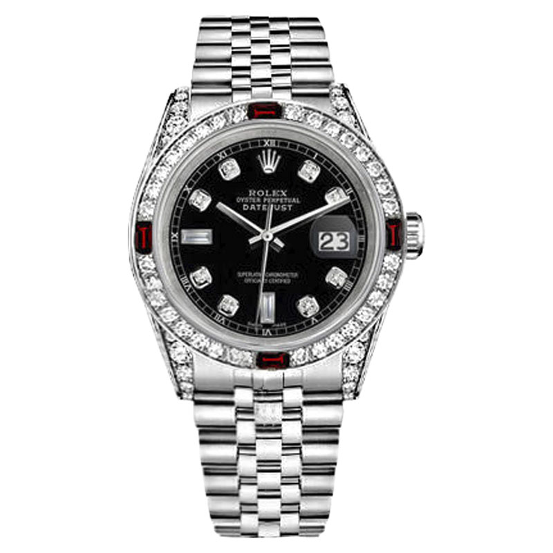 """Image of """"Rolex Datejust Stainless Steel Black Dial Ruby & Diamond 36mm Womens"""""""