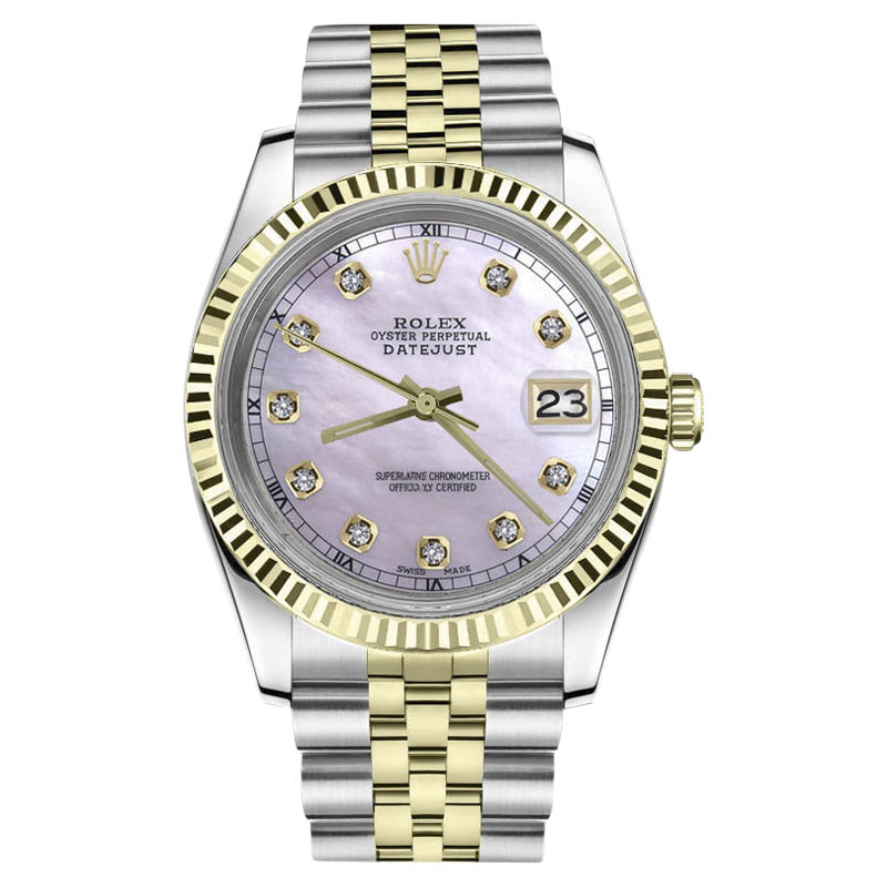 "Image of ""Rolex Datejust Stainless Steel/ 18K Gold Pink MOP Mother Of Pearl"""