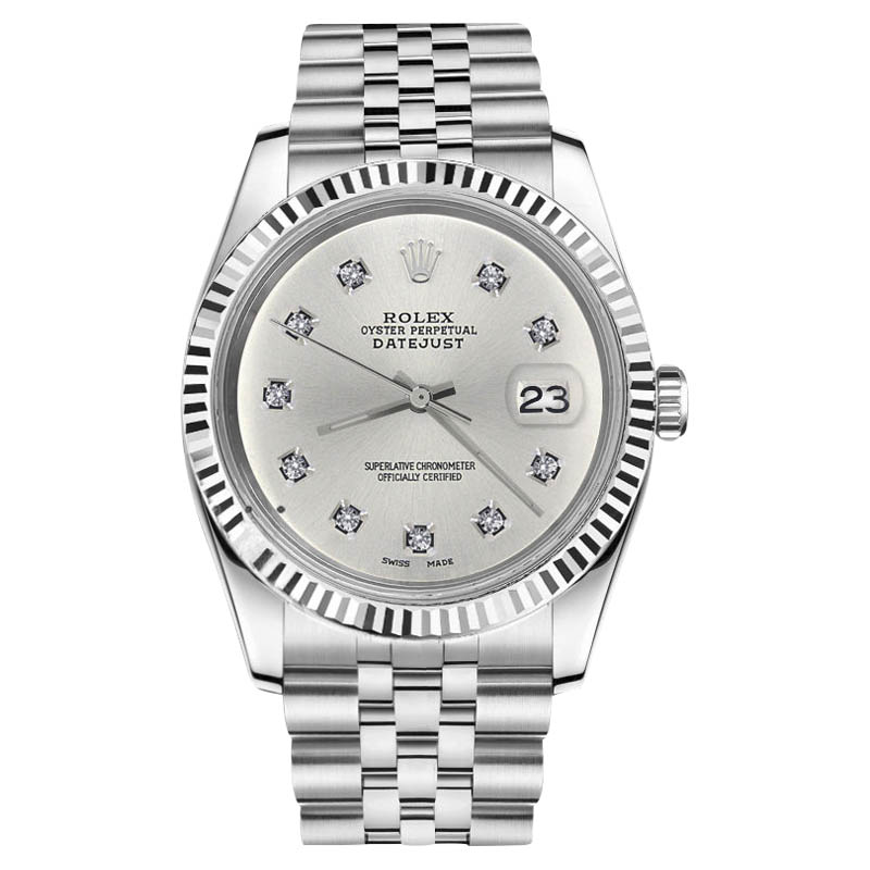 "Image of ""Rolex Datejust Stainless Steel Silver Dial 10 Round Diamond Numbers"""