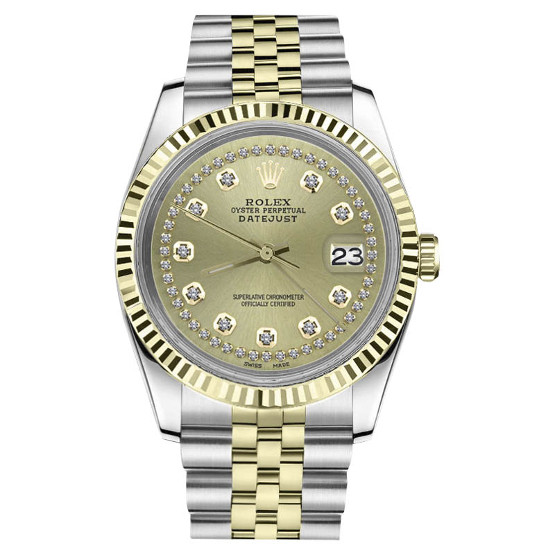 """Image of """"Rolex Datejust Stainless Steel/ 18K Gold String Champagne Diamond Dial"""""""