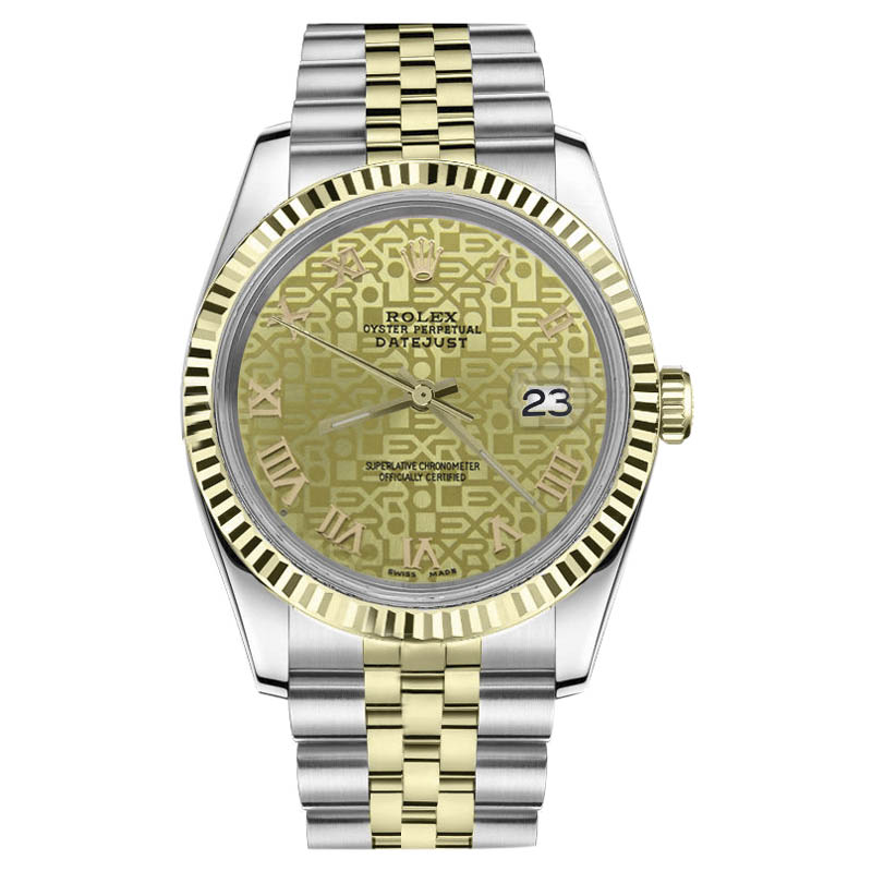 "Image of ""Rolex Datejust Two Tone 18K Gold/ Stainless Steel Champagne Gold"""