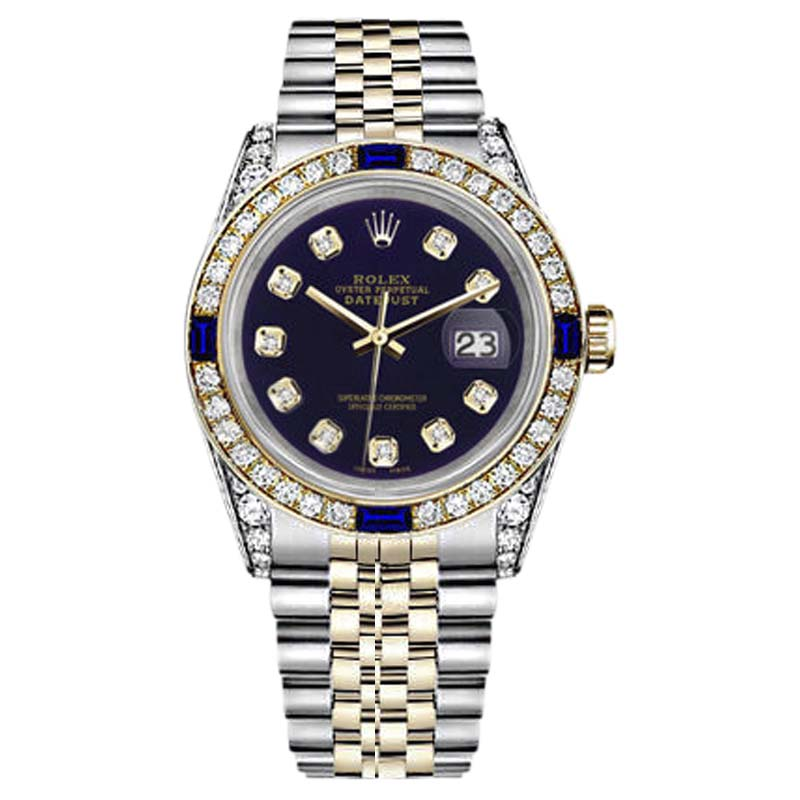 """Image of """"Rolex Datejust Stainless Steel/ 18K Gold Purple Dial With Sapphire &"""""""